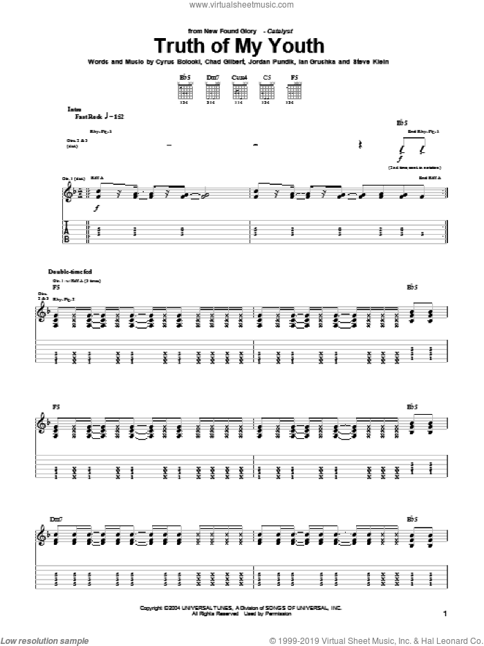 Truth Of My Youth sheet music for guitar (tablature) by New Found Glory, Chad Gilbert, Cyrus Bolooki, Ian Grushka, Jordan Pundik and Steve Klein, intermediate skill level