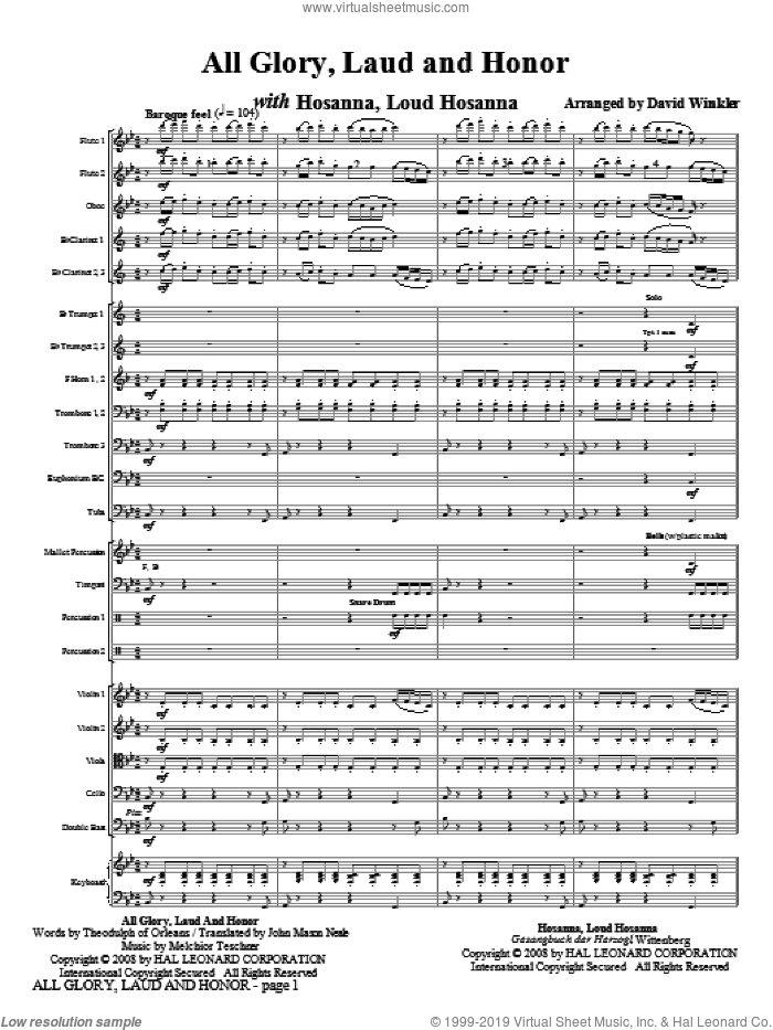 All Glory, Laud, And Honor (with Hosanna, Loud Hosanna) (COMPLETE) sheet music for full orchestra by David Winkler, intermediate. Score Image Preview.