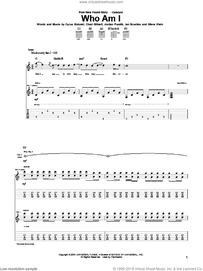Who Am I sheet music for guitar (tablature) by New Found Glory, intermediate guitar (tablature). Score Image Preview.