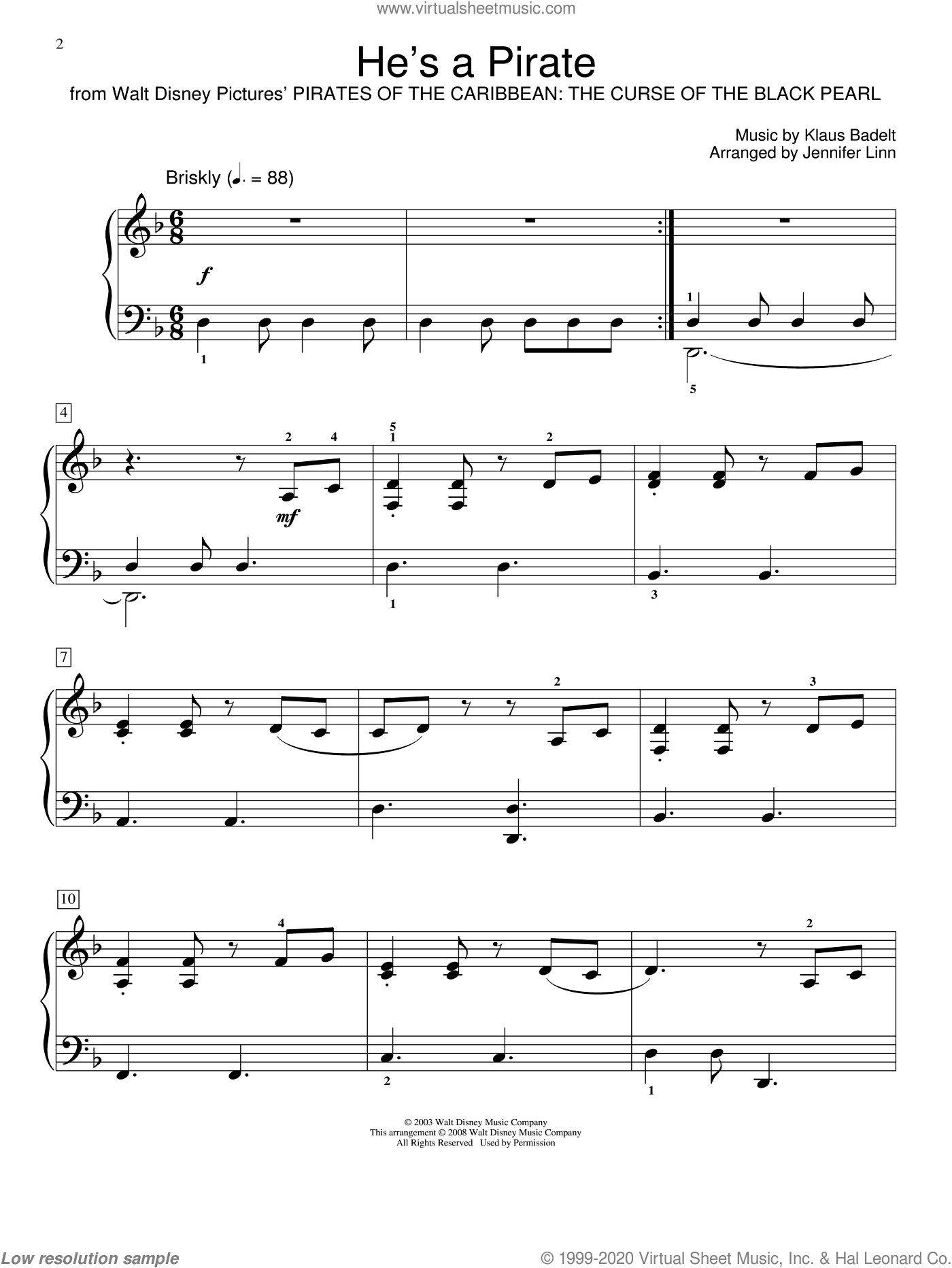 He's A Pirate sheet music for piano solo (elementary) by Klaus Badelt, Jennifer Linn and Miscellaneous. Score Image Preview.