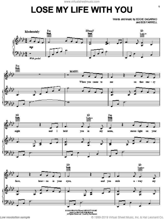 Lose My Life With You sheet music for voice, piano or guitar by Michael Tait, !Hero: The Rock Opera (Musical), Bob Farrell and Eddie DeGarmo, intermediate skill level
