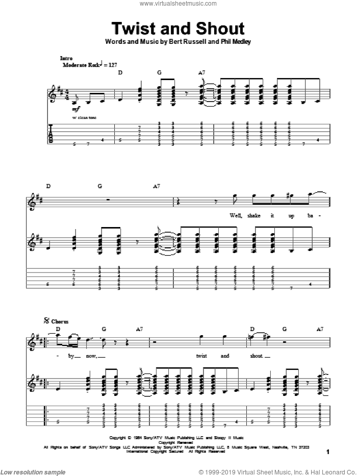 Twist And Shout sheet music for guitar (tablature, play-along) by The Beatles, The Isley Brothers, Bert Russell and Phil Medley, intermediate. Score Image Preview.