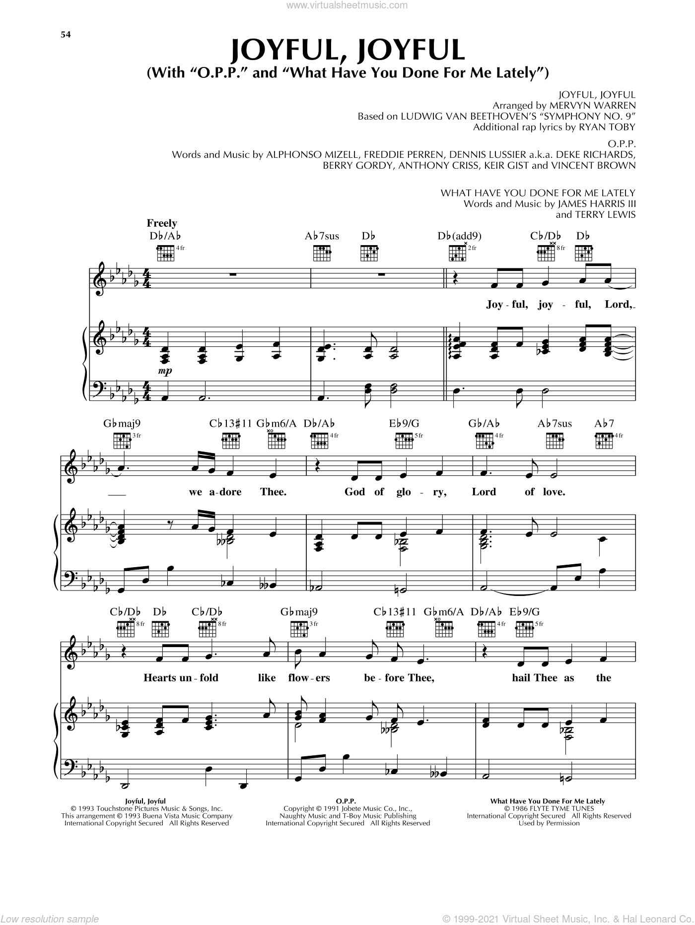Joyful, Joyful sheet music for voice, piano or guitar by Mervyn Warren and Sister Act 2 (Movie), intermediate skill level