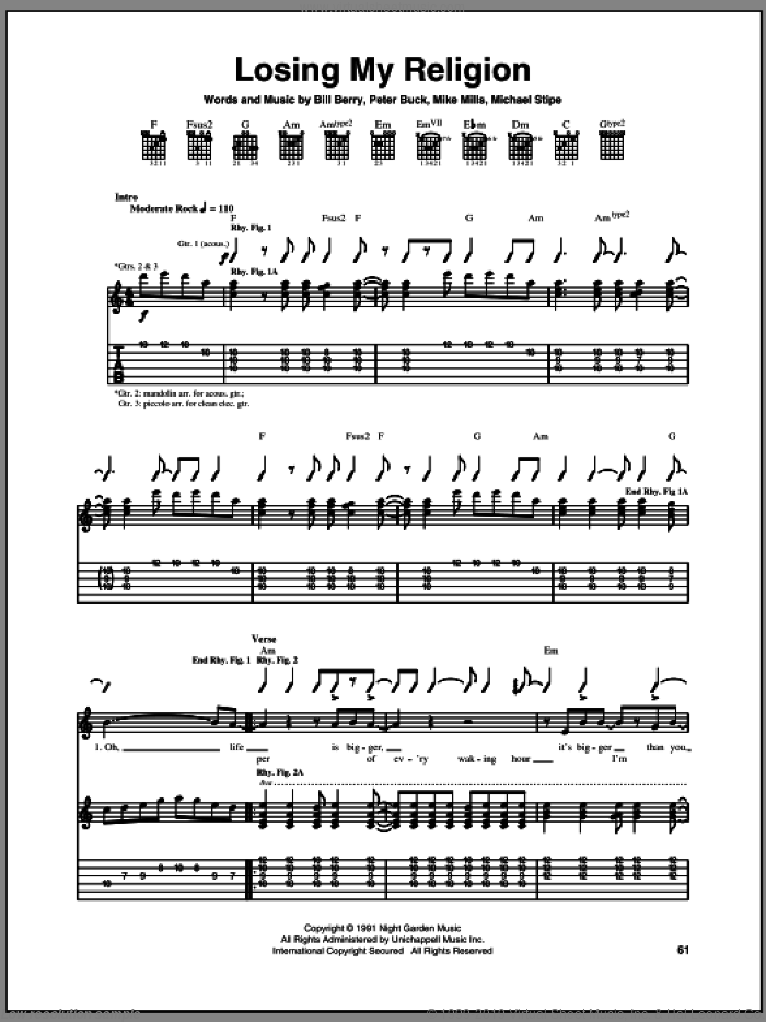 Losing My Religion sheet music for guitar (tablature) by Peter Buck, Bill Berry and Mike Mills. Score Image Preview.