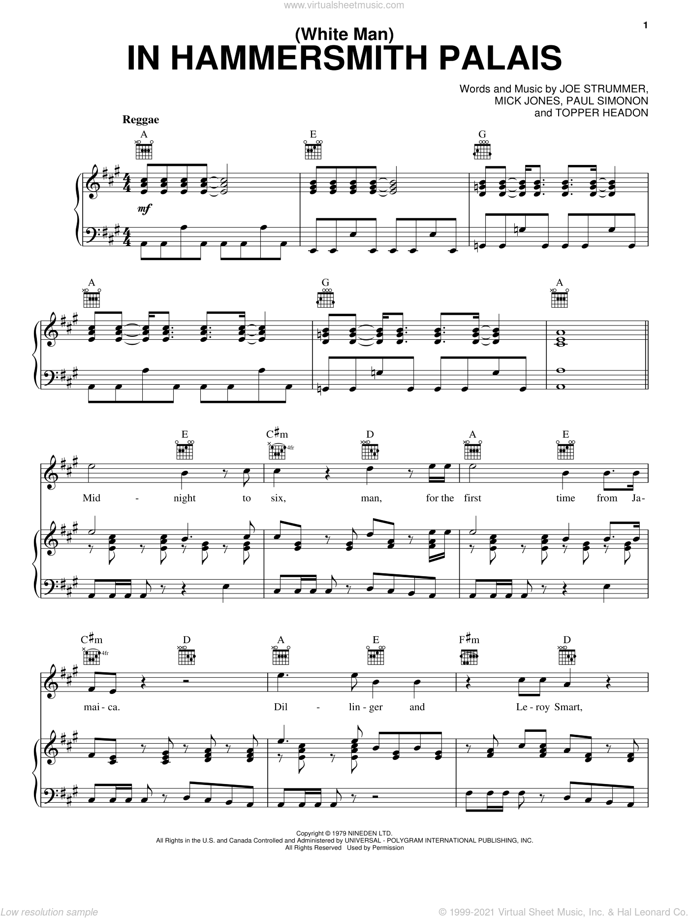 (White Man) In Hammersmith Palais sheet music for voice, piano or guitar by The Clash, Joe Strummer, Mick Jones, Paul Simonon and Topper Headon, intermediate skill level
