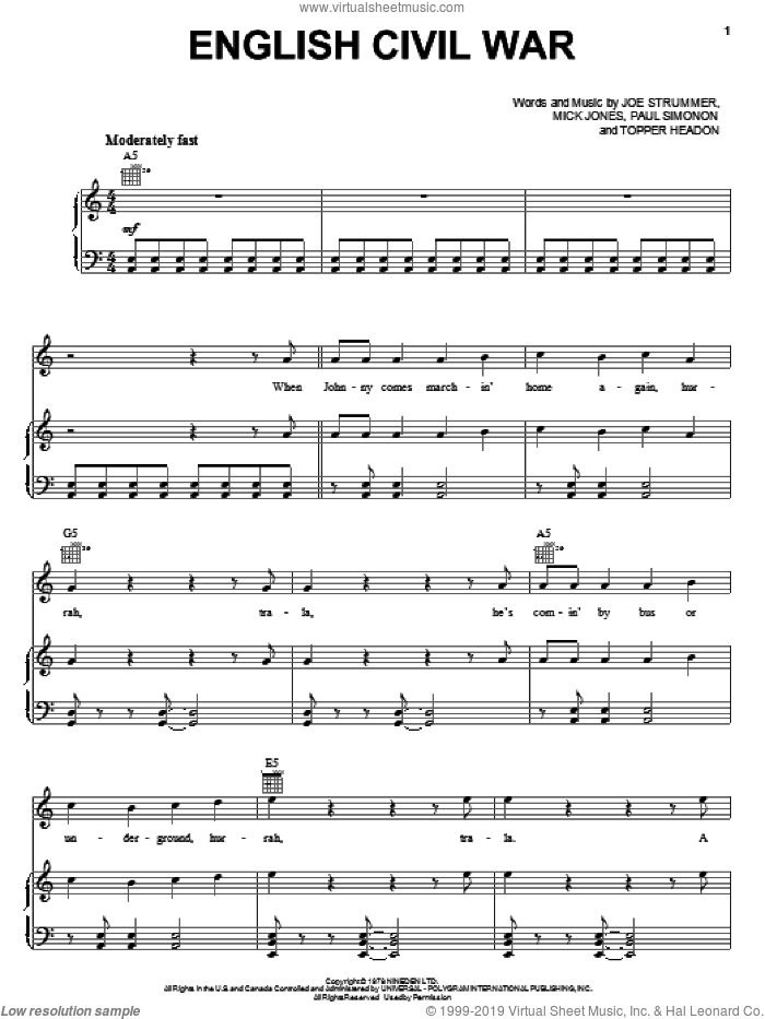 English Civil War sheet music for voice, piano or guitar by The Clash and Mick Jones. Score Image Preview.