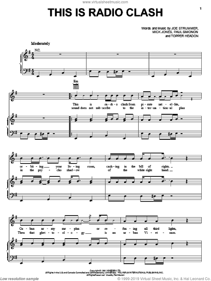 This Is Radio Clash sheet music for voice, piano or guitar by Topper Headon