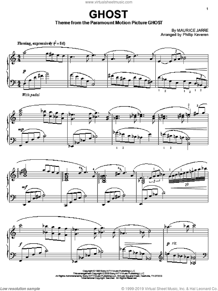Ghost sheet music for piano solo by Maurice Jarre and Phillip Keveren. Score Image Preview.