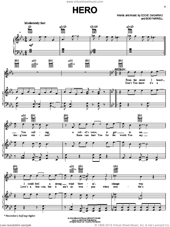 Hero sheet music for voice, piano or guitar by Mark Stuart and Bob Farrell. Score Image Preview.