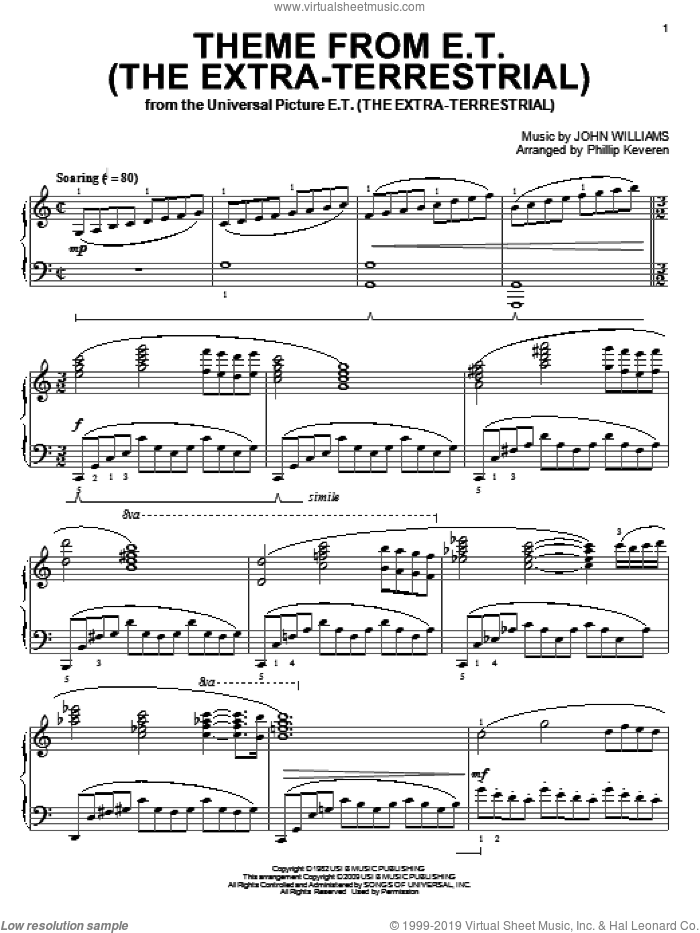 Theme from E.T. (The Extra-Terrestrial) sheet music for piano solo by John Williams and Phillip Keveren, intermediate skill level