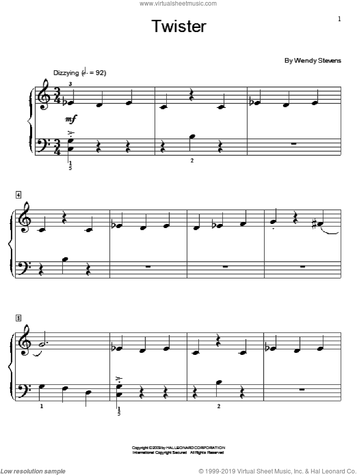 Twister sheet music for piano solo (elementary) by Wendy Stevens and Miscellaneous, beginner piano (elementary)