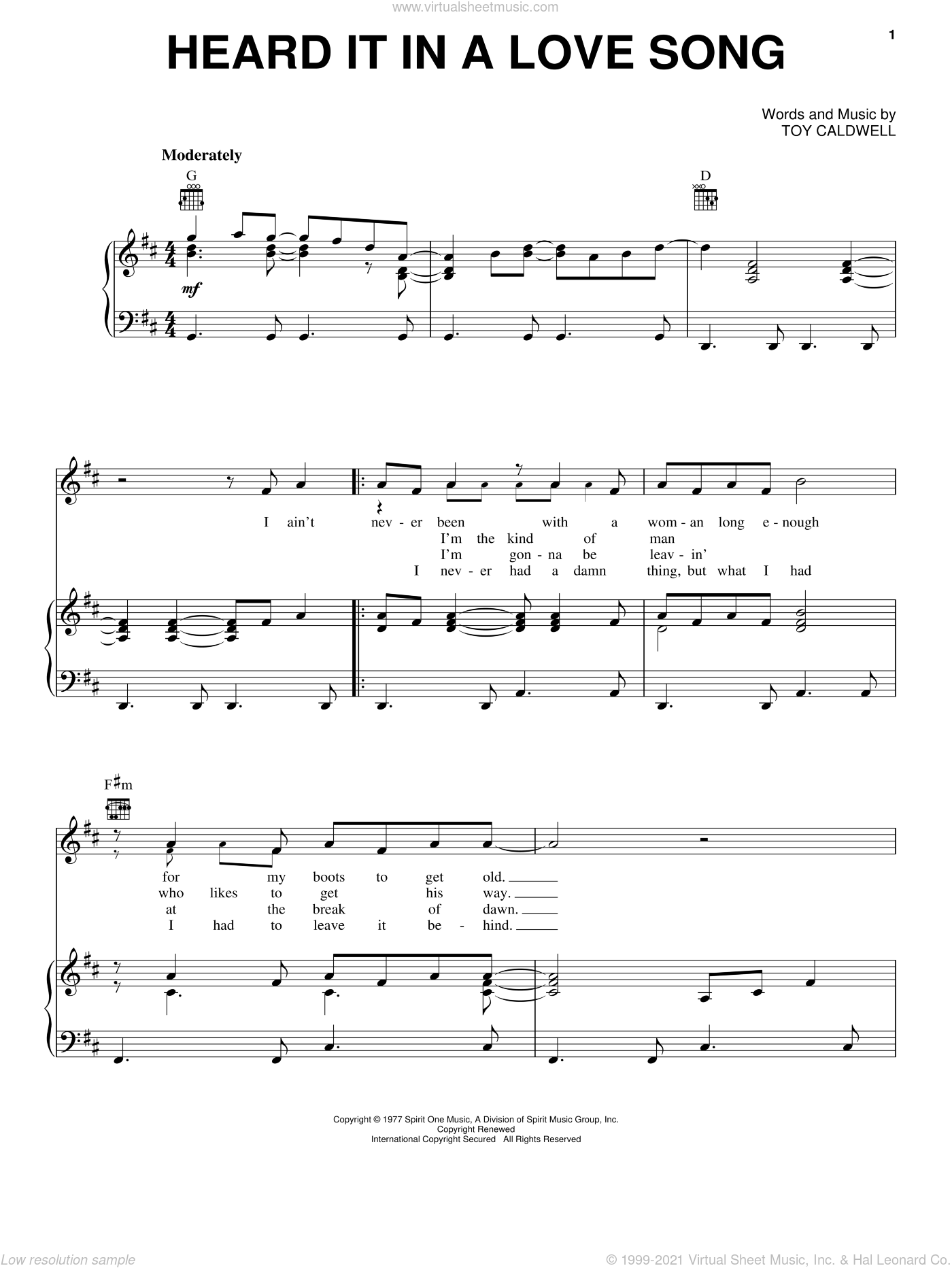 Heard It In A Love Song sheet music for voice, piano or guitar by Marshall Tucker Band and Toy Caldwell, intermediate skill level