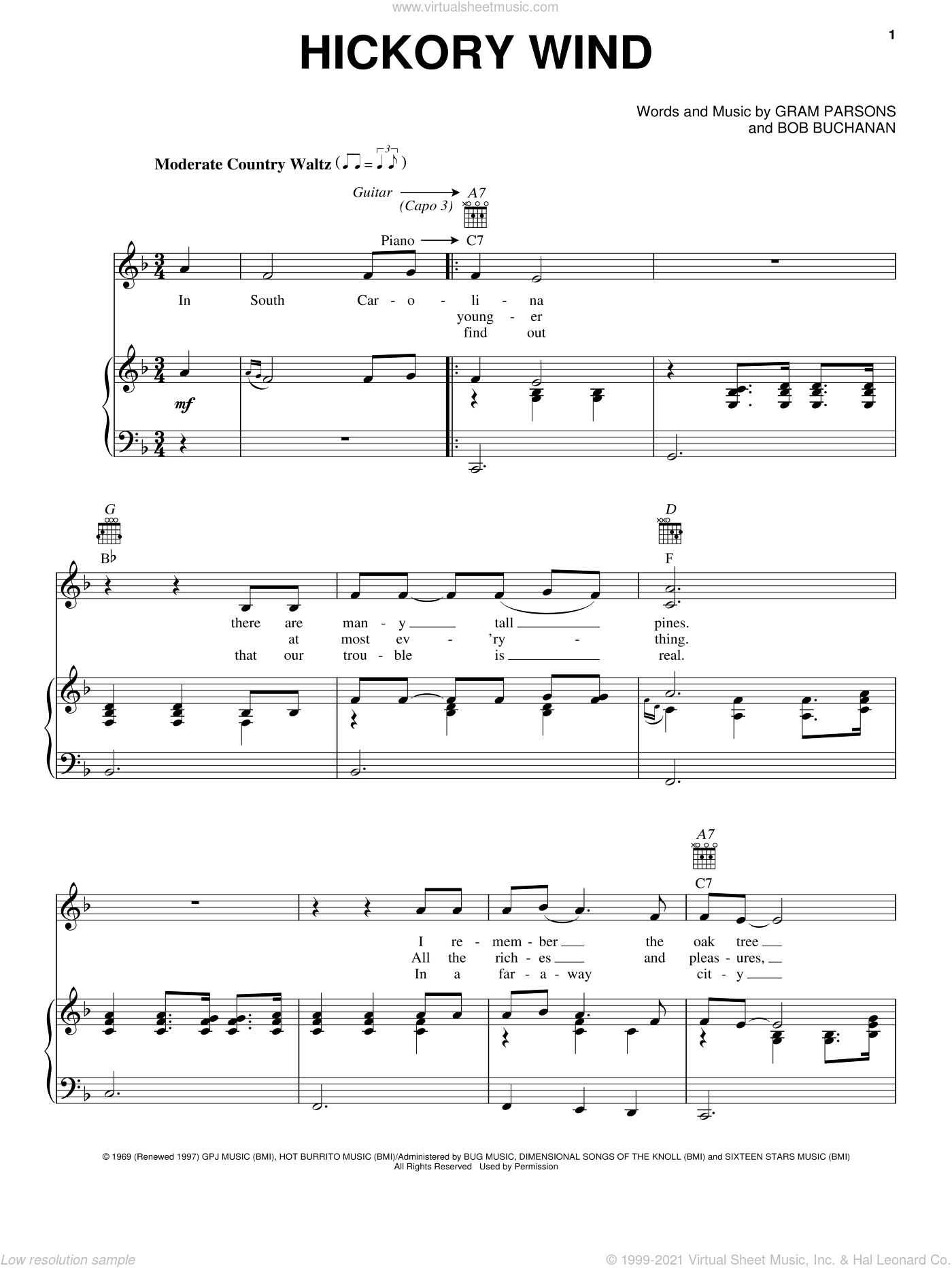 Hickory Wind sheet music for voice, piano or guitar by Bob Buchanan and Gram Parsons. Score Image Preview.