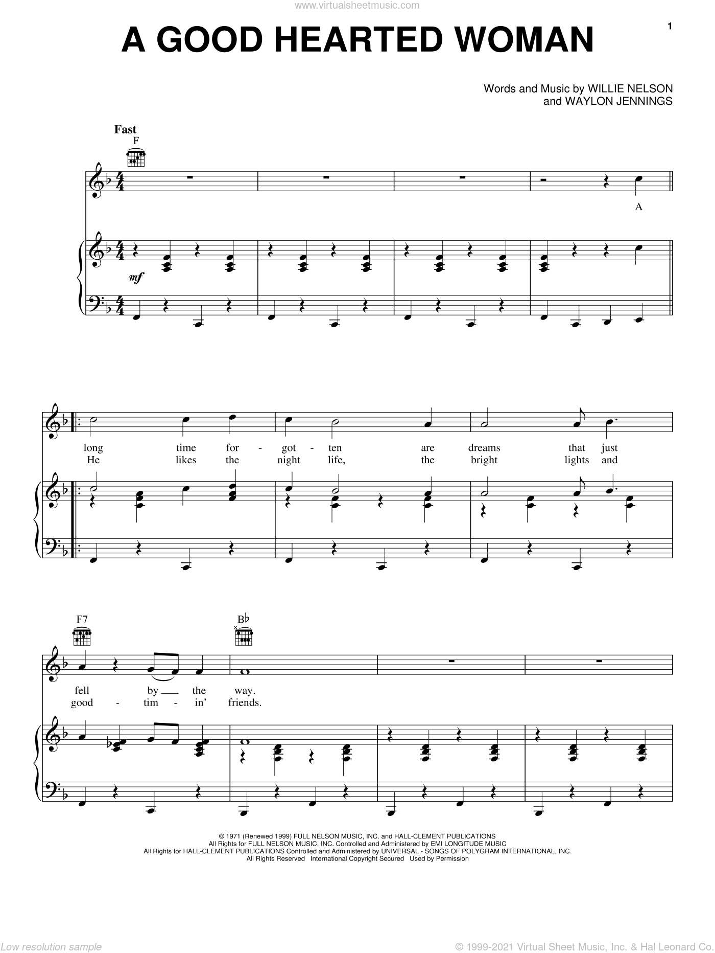 A Good Hearted Woman sheet music for voice, piano or guitar by Willie Nelson and Waylon Jennings, intermediate