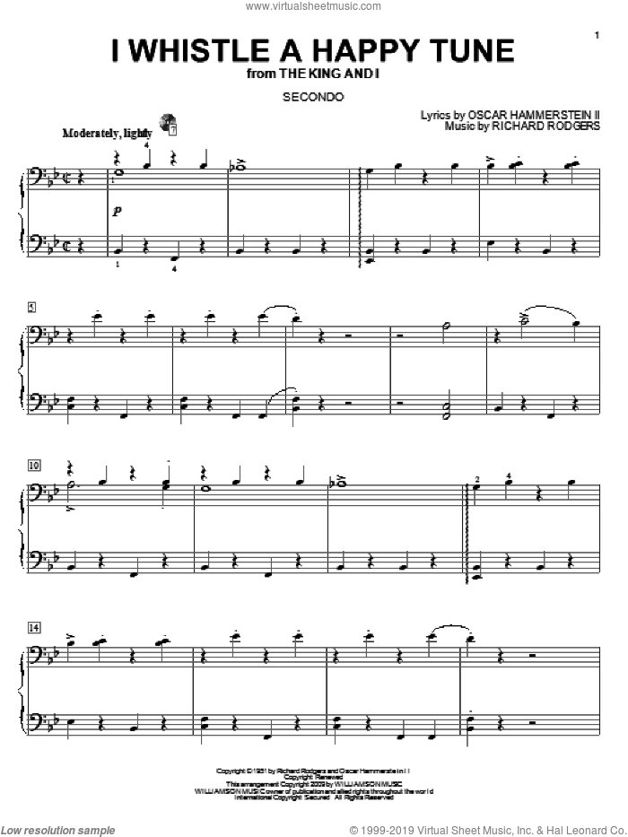 I Whistle A Happy Tune sheet music for piano four hands (duets) by Oscar II Hammerstein, Rodgers & Hammerstein and Richard Rodgers. Score Image Preview.