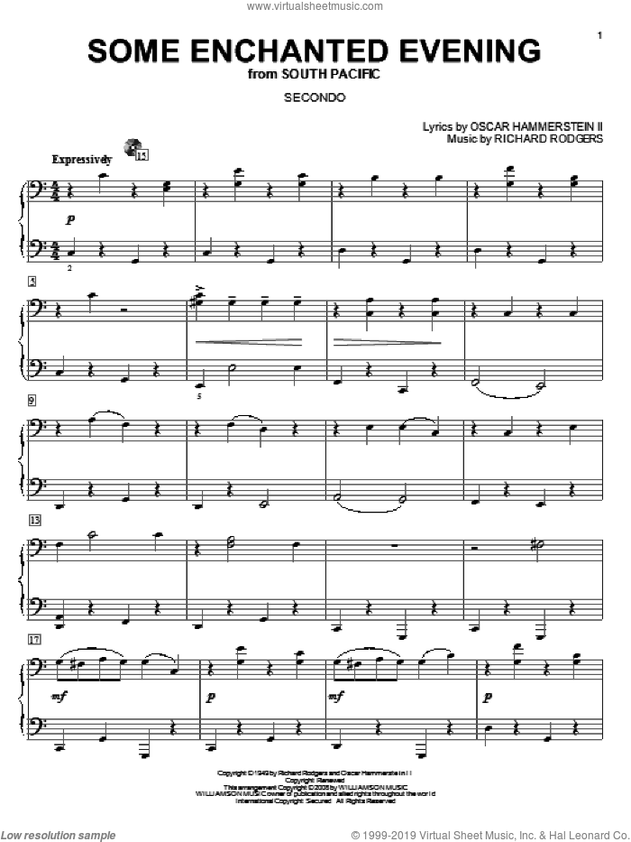 Some Enchanted Evening sheet music for piano four hands (duets) by Richard Rodgers, Rodgers & Hammerstein and Oscar II Hammerstein. Score Image Preview.