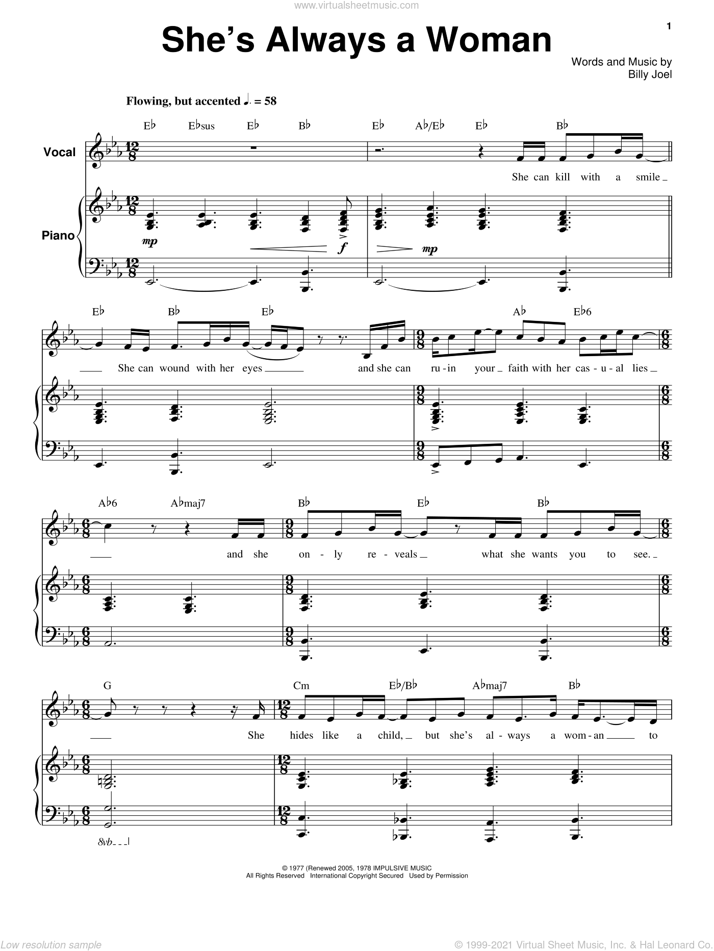 She's Always A Woman sheet music for voice and piano by Billy Joel. Score Image Preview.
