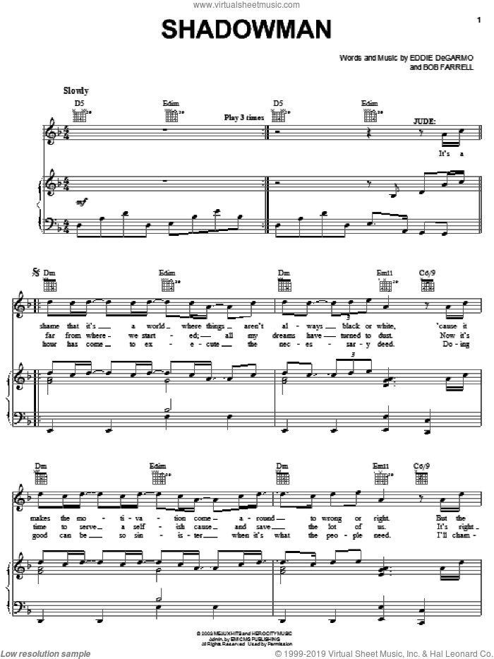Shadowman sheet music for voice, piano or guitar by Michael Quinlan, !Hero: The Rock Opera (Musical), Bob Farrell and Eddie DeGarmo, intermediate skill level