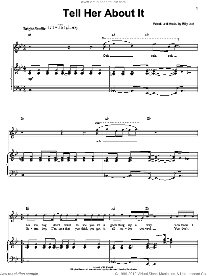 Tell Her About It sheet music for voice and piano by Billy Joel. Score Image Preview.
