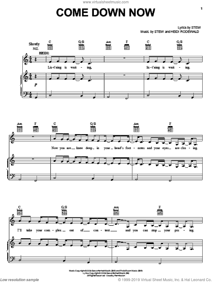 Come Down Now sheet music for voice, piano or guitar by Heidi Rodewald. Score Image Preview.