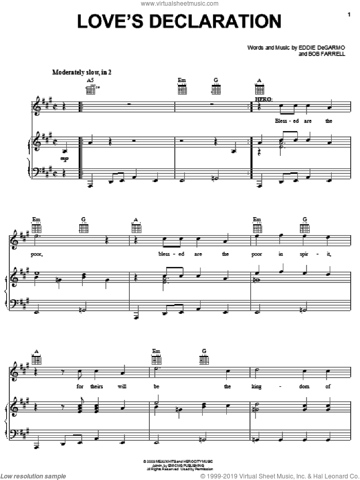 Love's Declaration sheet music for voice, piano or guitar by Michael Tait, !Hero: The Rock Opera (Musical), Bob Farrell and Eddie DeGarmo, intermediate skill level