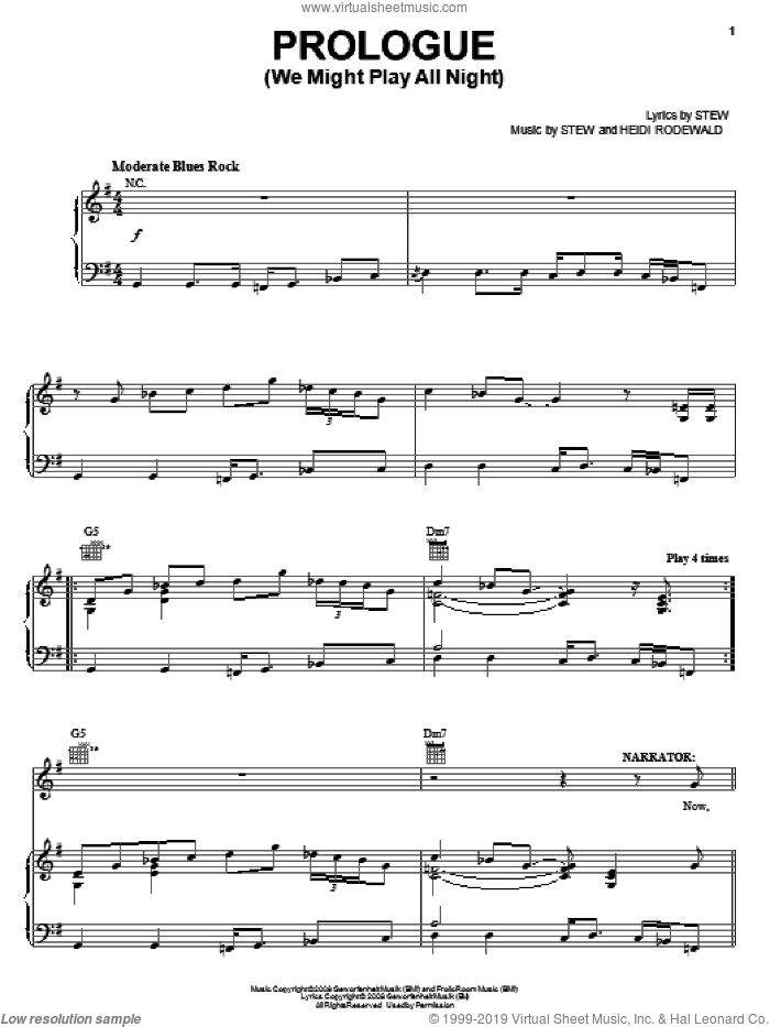 Prologue (We Might Play All Night) sheet music for voice, piano or guitar by Stew, Passing Strange (Musical) and Heidi Rodewald, intermediate. Score Image Preview.