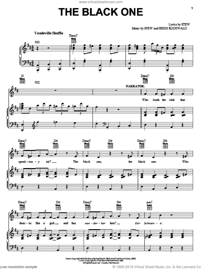 The Black One sheet music for voice, piano or guitar by Stew, intermediate. Score Image Preview.