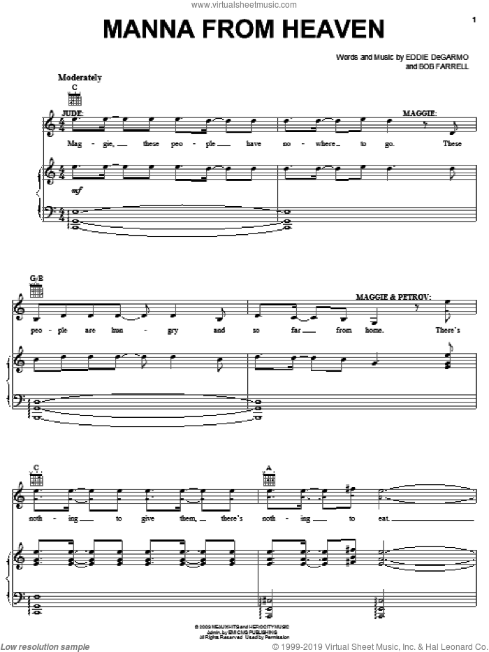 Manna From Heaven sheet music for voice, piano or guitar by Michael Quinlan, !Hero: The Rock Opera (Musical), Bob Farrell and Eddie DeGarmo, intermediate skill level