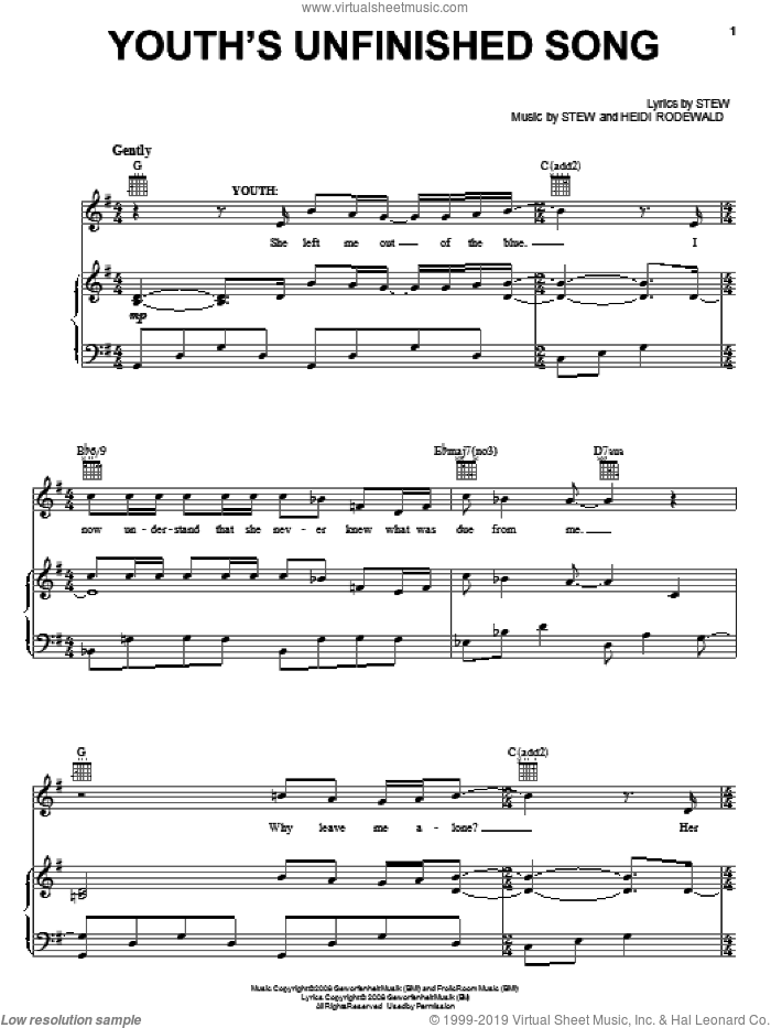 Youth's Unfinished Song sheet music for voice, piano or guitar by Stew, Passing Strange (Musical) and Heidi Rodewald, intermediate skill level