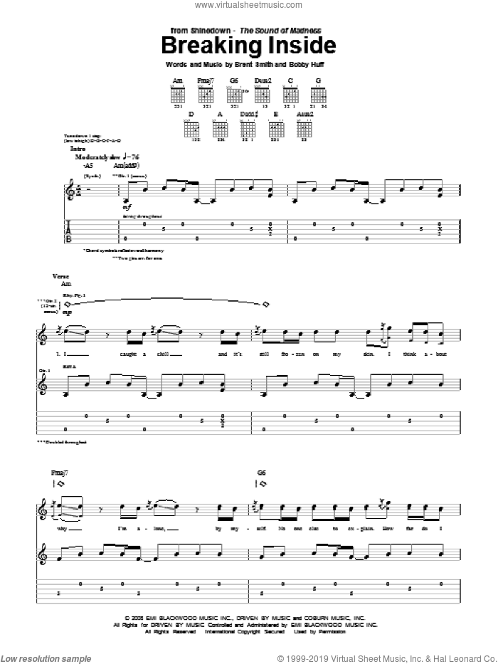 Breaking Inside sheet music for guitar (tablature) by Brent Smith and Shinedown. Score Image Preview.
