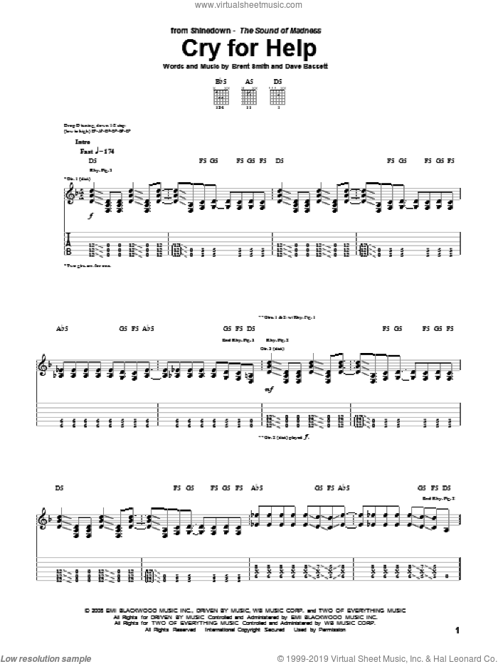 Cry For Help sheet music for guitar (tablature) by Dave Bassett