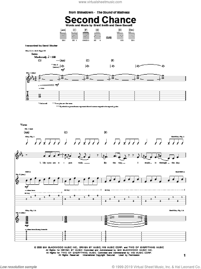 Second Chance sheet music for guitar (tablature) by Dave Bassett, Shinedown and Brent Smith. Score Image Preview.