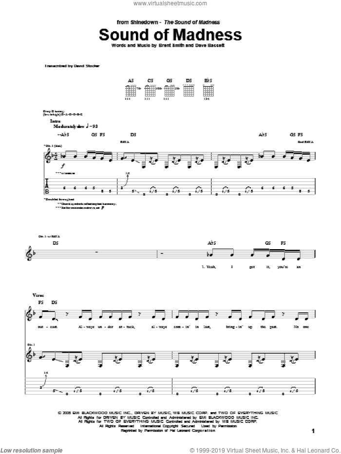 Sound Of Madness sheet music for guitar (tablature) by Shinedown, Brent Smith and Dave Bassett, intermediate skill level