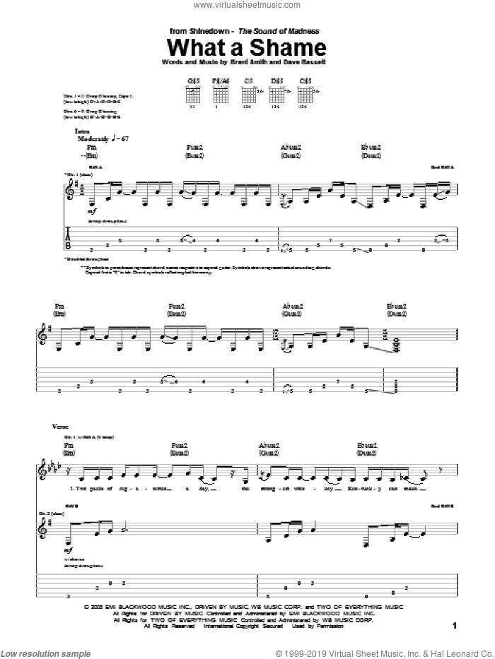 What A Shame sheet music for guitar (tablature) by Shinedown, Brent Smith and Dave Bassett. Score Image Preview.