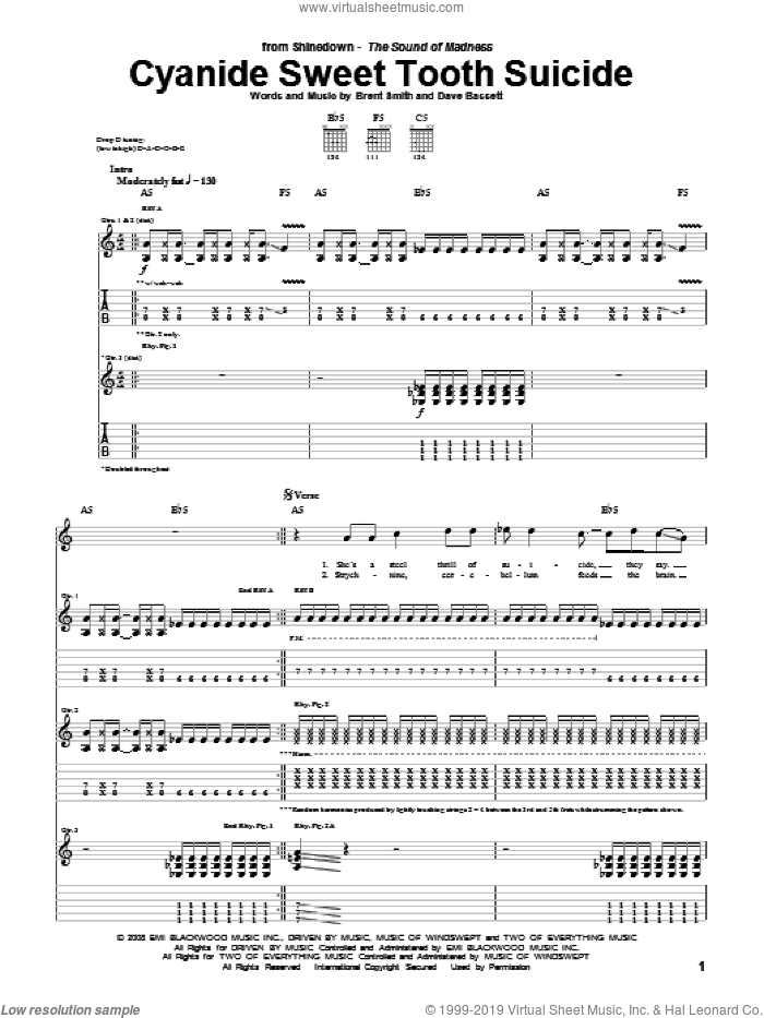 Cyanide Sweet Tooth Suicide sheet music for guitar (tablature) by Shinedown, Brent Smith and Dave Bassett, intermediate skill level