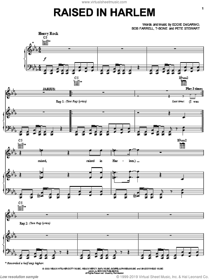 Raised In Harlem sheet music for voice, piano or guitar by Michael Tait, !Hero: The Rock Opera (Musical), Bob Farrell, Eddie DeGarmo, Pete Stewart and T-Bone, intermediate skill level