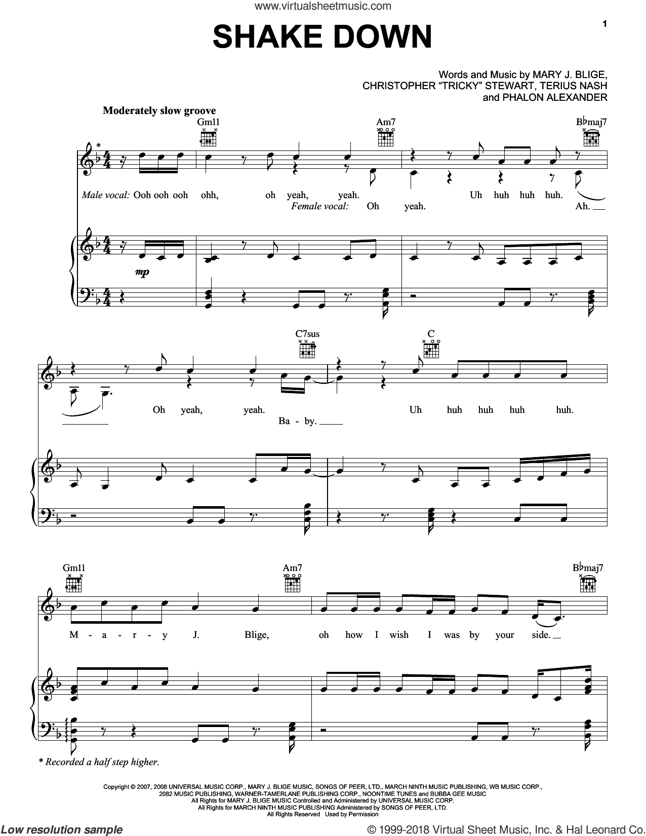 Shake Down sheet music for voice, piano or guitar by Mary J. Blige, Christopher 'Tricky' Stewart, Phalon Alexander and Terius Nash, intermediate skill level