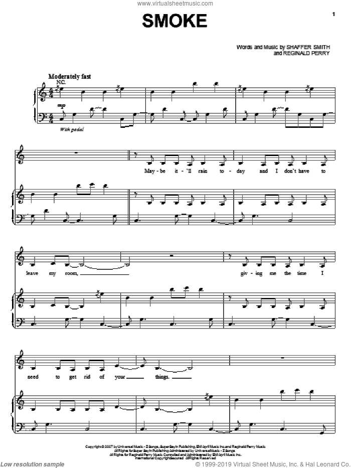 Smoke sheet music for voice, piano or guitar by Shaffer Smith