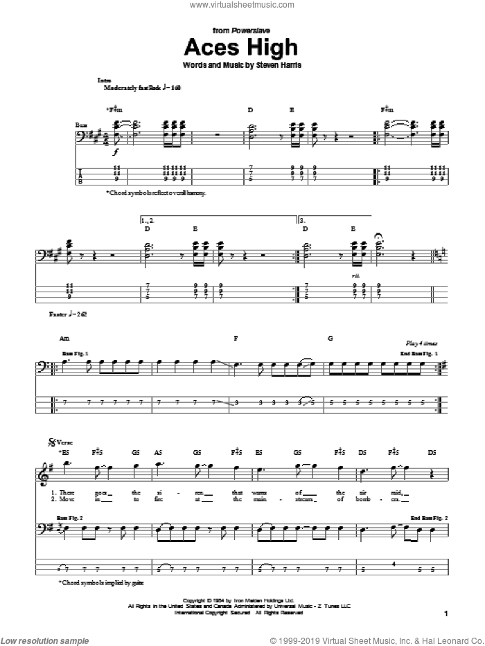 Aces High sheet music for bass (tablature) (bass guitar) by Steve Harris and Iron Maiden. Score Image Preview.