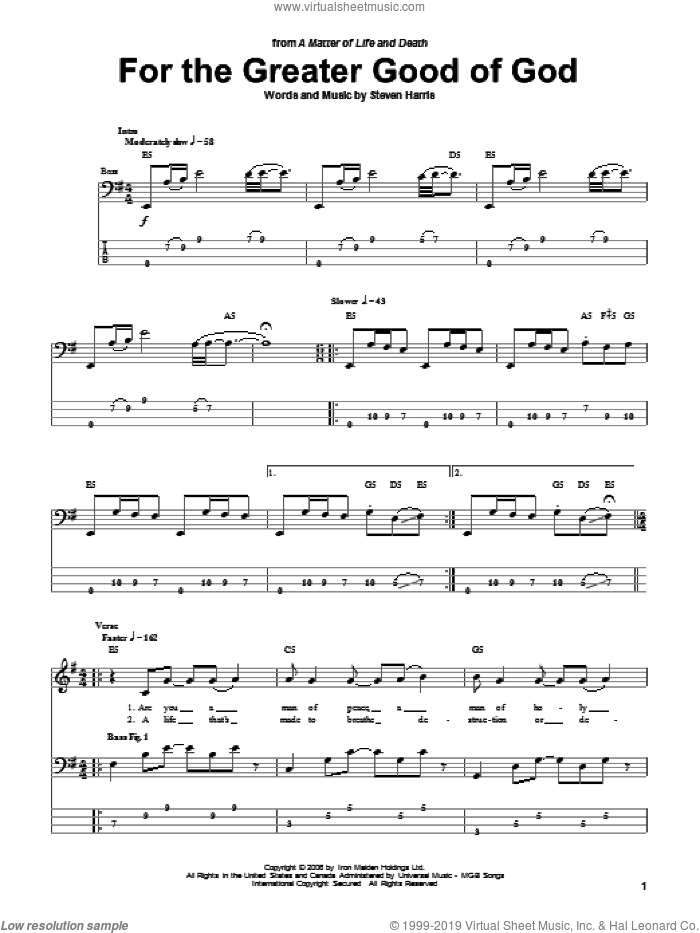 For The Greater Good Of God sheet music for bass (tablature) (bass guitar) by Iron Maiden and Steve Harris, intermediate skill level
