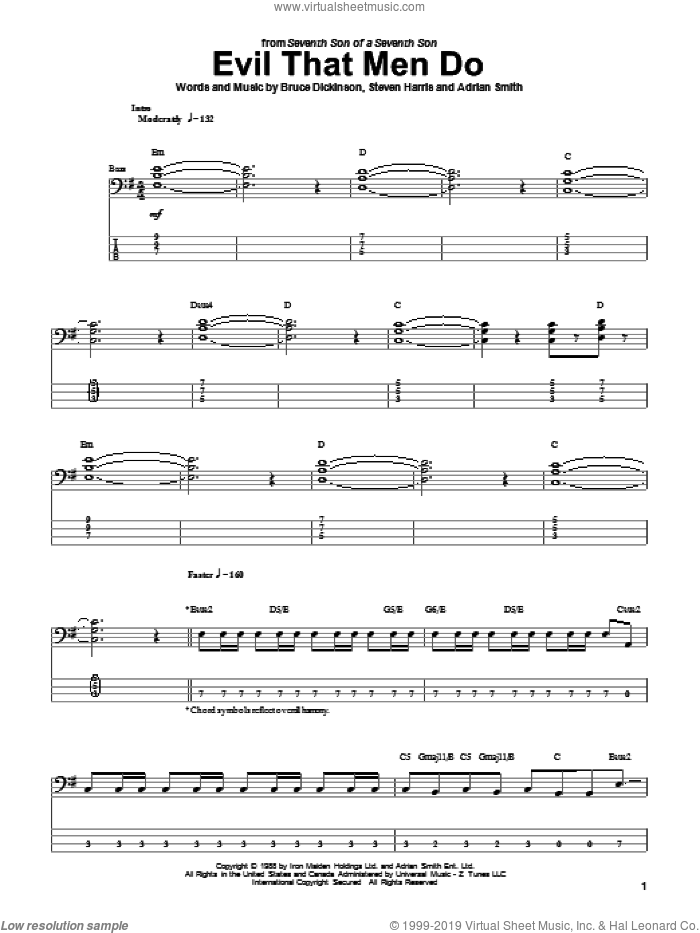 Evil That Men Do sheet music for bass (tablature) (bass guitar) by Steve Harris, Iron Maiden, Adrian Smith and Bruce Dickinson. Score Image Preview.