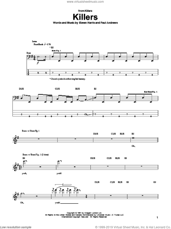 Killers sheet music for bass (tablature) (bass guitar) by Steve Harris and Iron Maiden. Score Image Preview.