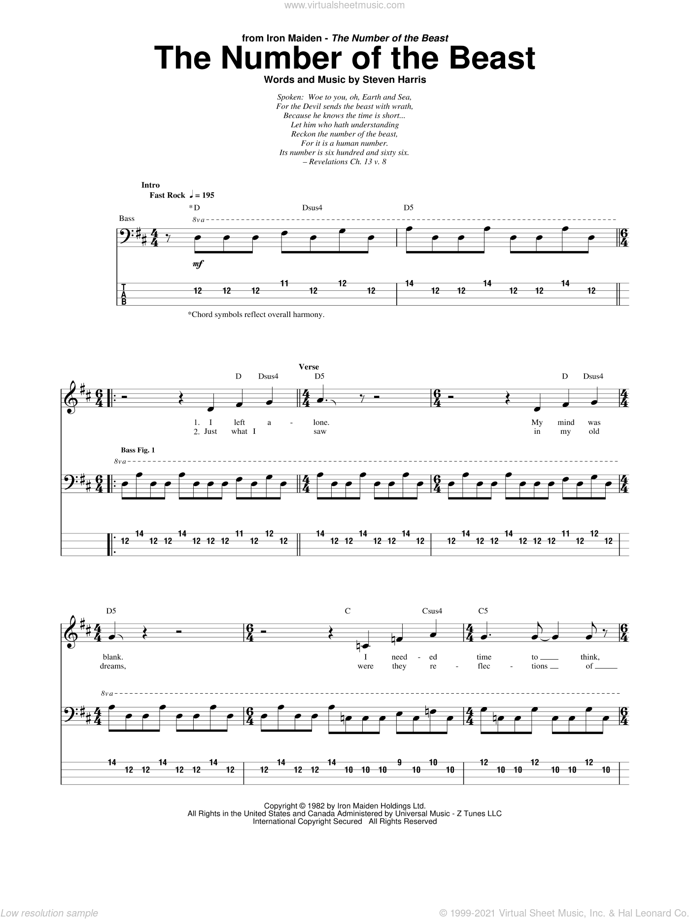 The Number Of The Beast sheet music for bass (tablature) (bass guitar) by Steve Harris and Iron Maiden. Score Image Preview.