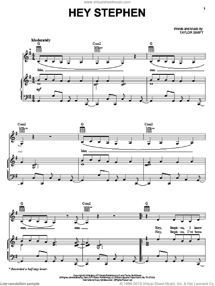 Hey Stephen sheet music for voice, piano or guitar by Taylor Swift. Score Image Preview.