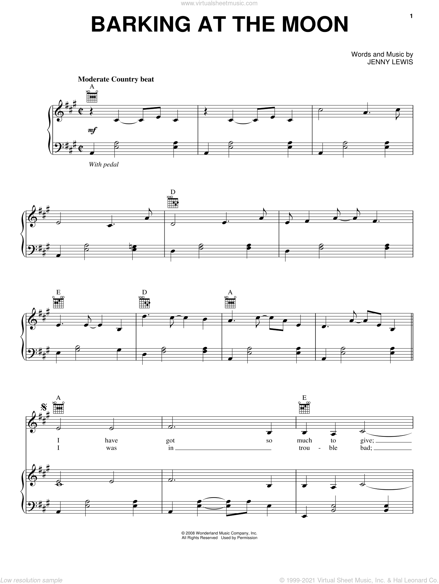 Barking At The Moon sheet music for voice, piano or guitar by Jennifer Lewis. Score Image Preview.