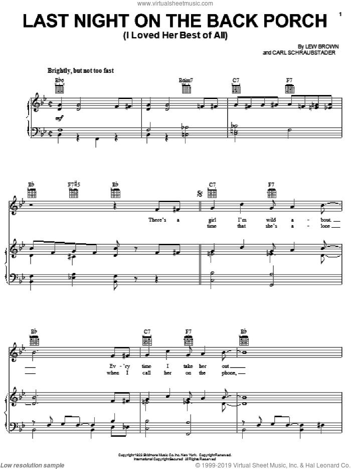 Last Night On The Back Porch (I Loved Her Best Of All) sheet music for voice, piano or guitar by Lew Brown and Carl Schraubstader, intermediate skill level