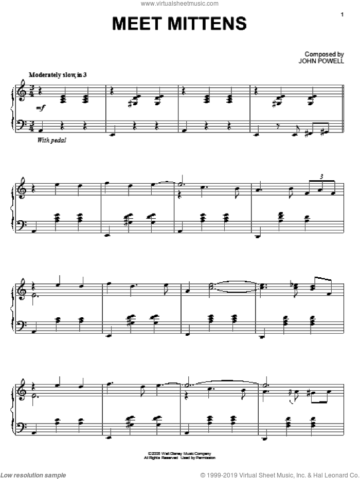 Meet Mittens sheet music for piano solo by John Powell and Bolt (Movie), intermediate skill level