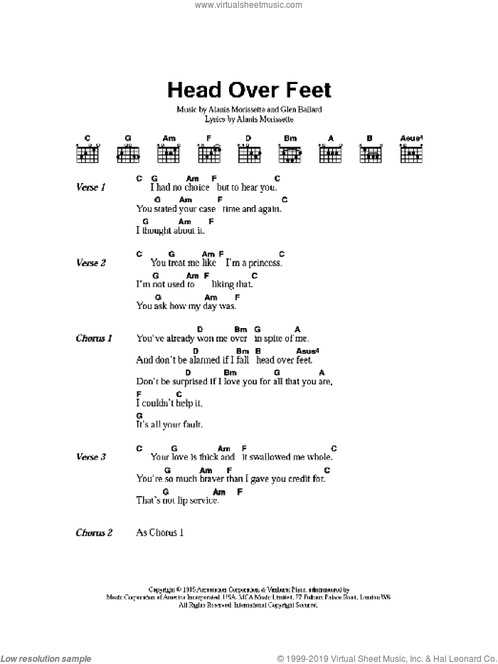 Head Over Feet sheet music for guitar (chords) by Alanis Morissette and Glen Ballard, intermediate. Score Image Preview.