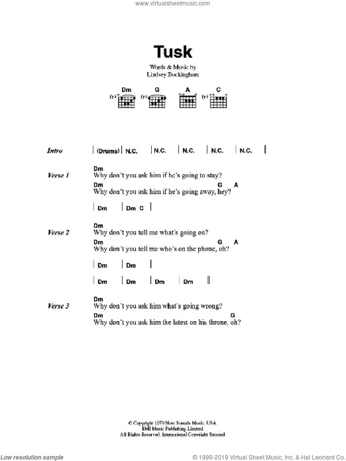 Tusk sheet music for guitar (chords) by Fleetwood Mac and Lindsey Buckingham. Score Image Preview.