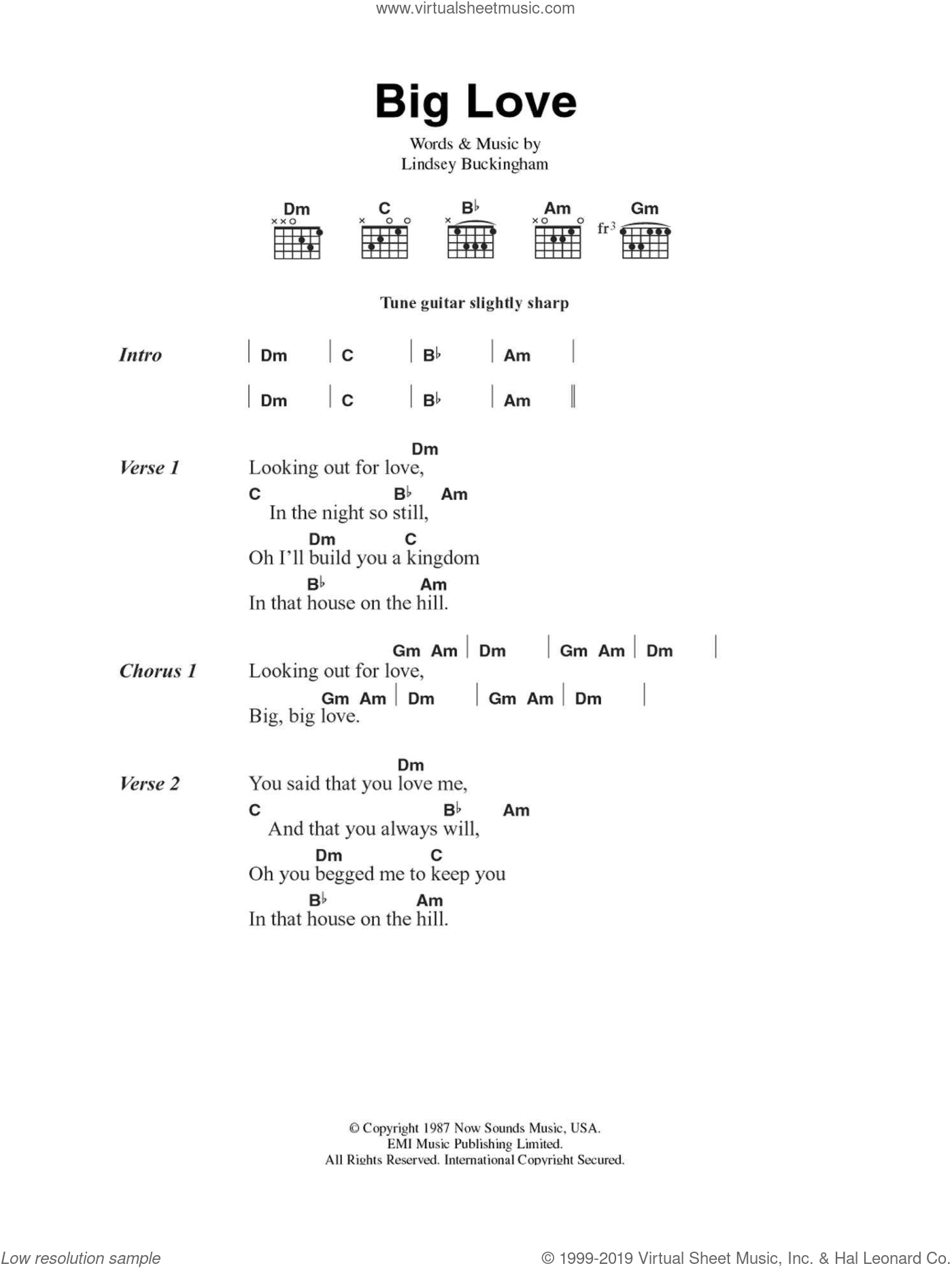 Big Love sheet music for guitar (chords, lyrics, melody) by Lindsey Buckingham